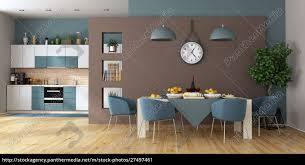lizenzfreies bild 27497461 modernes esszimmer mit küche im