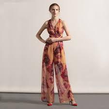 XXXL Jumpsuits New High Fashion 2017 Summer Women V Neck European Prints Empire Waist Plus
