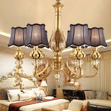 Vintage Purple Fabric Shade Antique Brass Chandelier For Bedroom