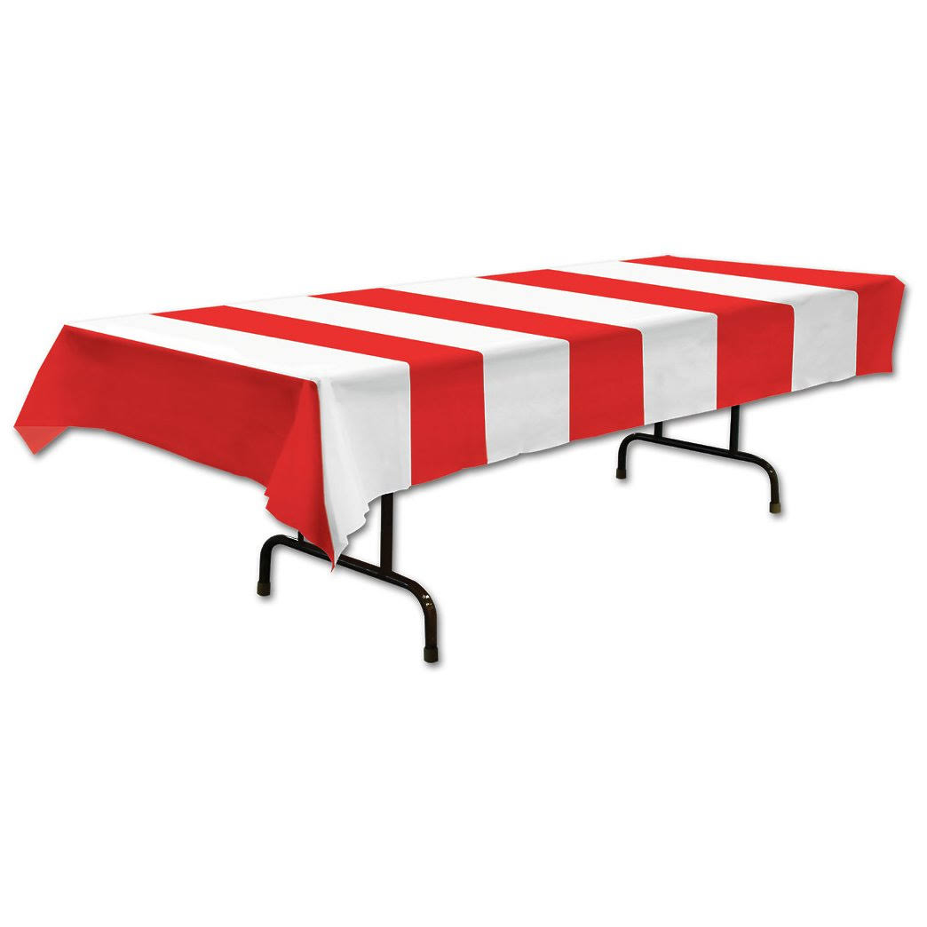 The Beistle Company Red and White Striped Long Plastic Table Cover