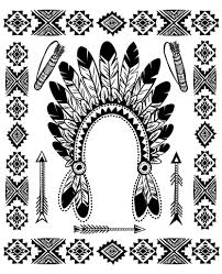 Coloring Page With Native American Indian Chief Headdress And Other Traditional Objects