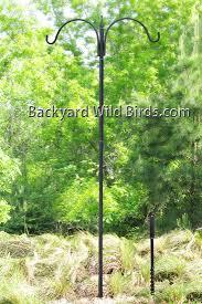 Bird Feeder Pole Double Arm at Backyard Wild Birds