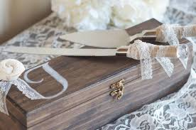 Rustic Wedding Cake Knife And Server With Wooden Keepsake Box By Burlap Linen Co
