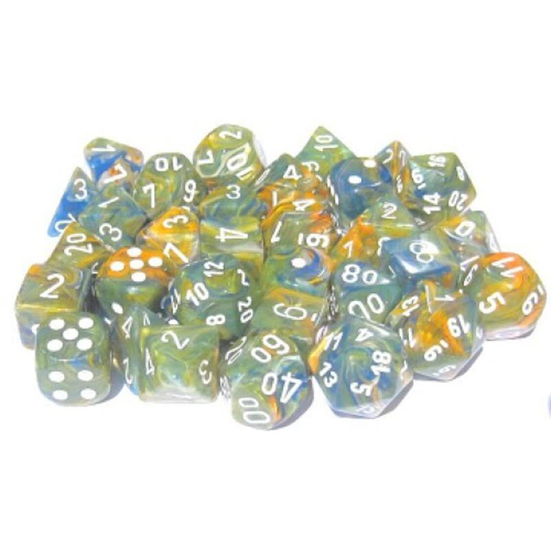Chessex Polyhedral Dice Set: Lab - Festive Autumn/White (7)