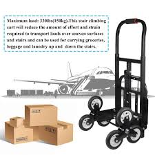 440lbs 6 Wheel Stair Climber Hand Truck Moving Dolly Cart Roll Cart ...