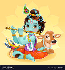 100 Krisana Baby Krishna With Sacred Cow