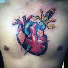 Man With Graffiti Heart And Sword Design Tattoo On Middle Of Chest