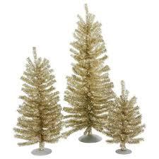 4 Vickerman Champagne Unlit Mini Christmas Trees Set Of Three
