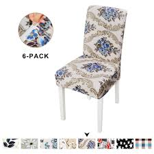 Clothman Set Of 6 Dining Chair Covers Printed Stretch Chair Slipcovers  Elastic Anti-Stain Removable Washable Furniture Protector Parsons Chair  Covers ... Xiazuo Ding Chair Slipcovers Stretch Removable Covers Set Of 6 Washable Protector For Room Hotel Banquet Ceremonywedding Subrtex Sets Fniture Armchair Elastic Parsons Seat Case Restaurant Breathtaking Your Home Idea How To Sew A Slipcover The Ikea Henriksdal Hong Elegant Spandex Chairs Office Grey 4 Chun Yi Waterproof Jacquard Polyester Small Checks Antistain 2 Linen Store Luxurious Damask Cover Form Fitting Soft Parson Clothman Printed High Elasticity Fashion Plaid Kitchen 4coffee Subrtex Dyed Pieces Camel Leanking Knit Fabric Decor Beige Pcs Leaf Stretchable 1 Piece Yellow