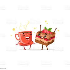 tanzen kaffee und kuchen mit erdbeeren essen und trinken zeichen spaß vektorflache cartoonillustration stock vektor und mehr bilder café