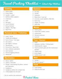 Packing List For Travel With School Age Children SchoolAgeKidsTravelpackingList