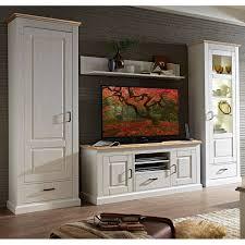 landhaus wohnzimmer wohnwand inkl beleuchtung leer 55 in pinie weiß mit abs eiche hell b h t ca 318 204 52cm