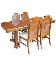 Press Back Chairs Oak by Dining Table And Four Broyhill Cane Back Chairs Ebth