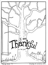 November Color Sheet FREE Tree Coloring Page Has The Words I Am Thankful To Lord It Bare Branches Pumpkins And A Childs Swing
