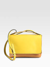 marni small bicolor shoulder bag in yellow lyst