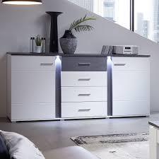 details zu sideboard spurt mit led anrichte kommode wohnzimmer weiß und betonoptik