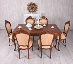 sitzgruppe mahagoni sitzgarnitur tisch 6 stühle antik essgruppe massiv