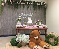 Rustic Baby Shower Decor Wood Background Girl