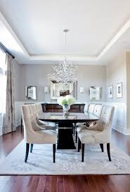 Modern Formal Dining Room Set Carpet Tufted Chairs Table Flowers Chandelier Window Curtain Transitional Style