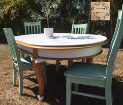 Refurbished Queensland Maple Dining Table 4 Solid Wooden Chairs