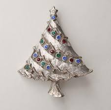 Pewter Christmas Tree Pin Colorful Rhinestones Blue Green Red Vintage Holiday Jewelry