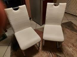 4 stühle leder in weiß