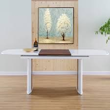 Halo White High Gloss Solid Walnut Wood Hide Away Leaf Extension Dining Table
