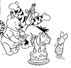 Winnie The Pooh Birthday Coloring Pages For Kids Printable
