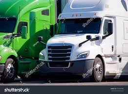100 Images Of Semi Trucks Green White Big Rigs Stock Photo Edit Now 757603966