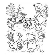 Winnie And Friends Playing With Christopher Robin