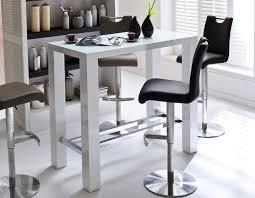 table haute blanc laqué design avec plateau en verre pova table