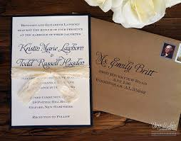 Blue And White With Tan Envelope Rustic Navy Wedding Invitation Kraft Lace 400
