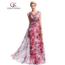 grace karin floral print long evening dress 2016 double v neck