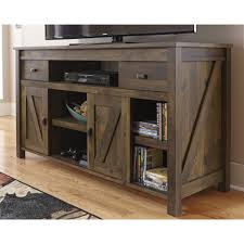 This TV Stand Gives The Perfect Rustic Look To A Room Sliding Doors On Bottom Allow You Hide Anything Dont Want Seen And Display Things
