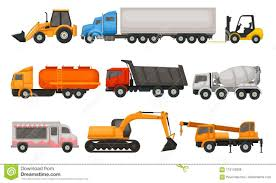 Flat Vector Set Of Various Types Of Vehicles. Semi Trucks, Dumper ...
