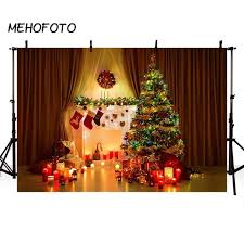 Christmas Photography Backdrop Fireplace Xmas Tree Children Indoor Photo Shoot Studio Professional Photographic Background Props