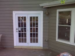 Outswing Patio Doors Lowes With White Wood Frame For Home