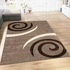wohnzimmer teppich modern farbe beige braun kreisel muster
