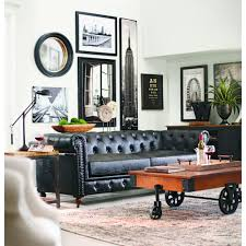 home decorators collection gordon black leather sofa 0849400700
