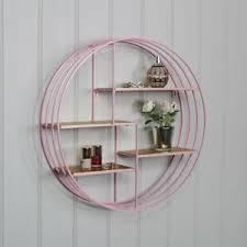 details zu rund pink metall draht gold wand regale schlafzimmer wohnzimmer regal display