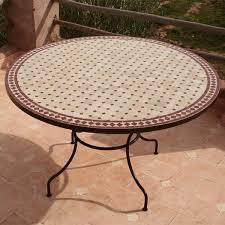 table ronde mosaique fer forge table en zellige mosaïque de céramique et fer forgé ronde 130