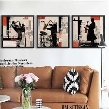 Rock Jazz Saxophone Performances Poster Home Decor Wall Art 3 Piece Canvas Bar Cafe Bedroom
