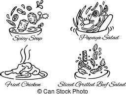 Thai foods black and white vector