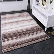 wohnzimmer teppich kurzflor modern meliert gestreift braun