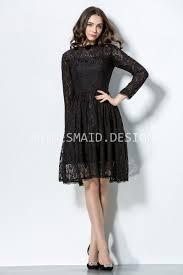 charcoal illusion lace knee length vintage long sleeve bridesmaid