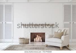 interieur mit kamin im bauernstil innenmock 3d rendering
