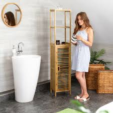 badregal bambus schmal bad badezimmerschrank 5 ablagen