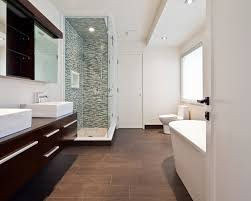 modern concept brown floor tile bathroom