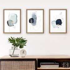 3 teiliges poster set abstrakt blau optional mit rahmen din a4 oder a3