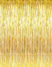 3ft x 8ft metallic gold foil fringe curtains door window curtain